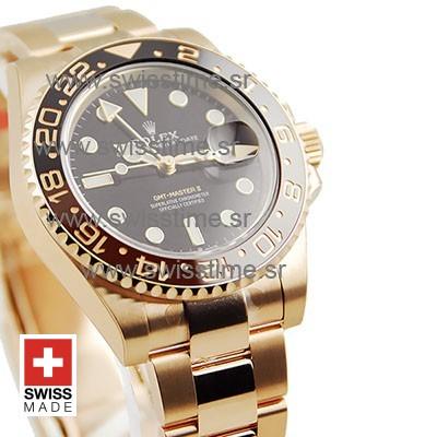 SWISSTIME ROLEX GMT MASTER II 18K ROSE GOLD CERAMIC BEZEL BLACK DIAL 126715CHNR 40MM 9