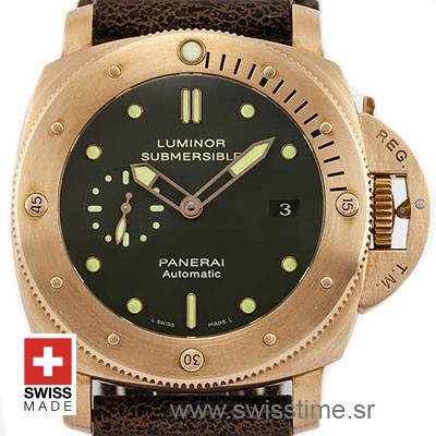 Panerai Luminor Submersible Bronzo Green Dial   Replica Watch