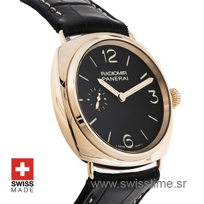Panerai Radiomir Rose Gold Black Dial Swisstime Replica watch