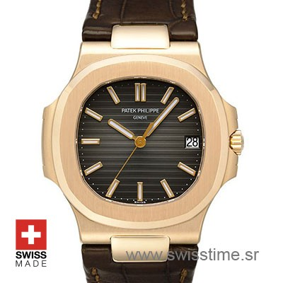 Patek Philippe Nautilus Leather Strap | Rose Gold Replica Watch