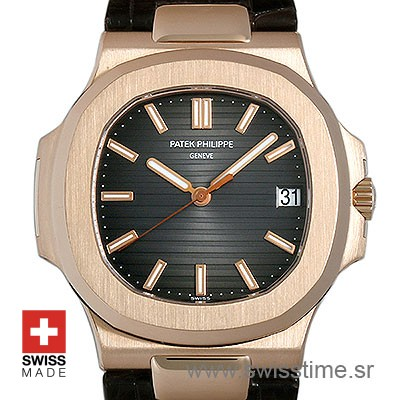 Patek Philippe Nautilus Leather Strap | Rose Gold Replica Watch