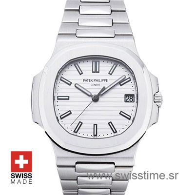 Patek Philippe Stainless Steel Nautilus White Dial Replica Watch