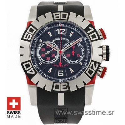 Roger Dubuis Chronoexcel Easy Diver SS Black - Red 46mm Swiss Replica