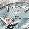 Rolex Day-Date 40 Platinum Ice Blue Diagonal Motif 40mm Swiss Replica