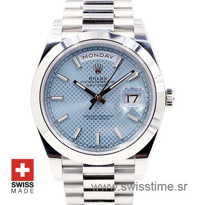 Rolex Day-Date 40 Platinum Ice Blue Diagonal Motif 40mm Swiss Replica