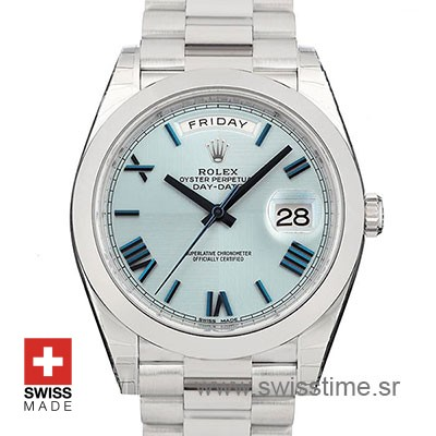 Rolex Day-Date 40 Platinum Ice Blue Quadrant Motif Roman 40mm Swiss Replica