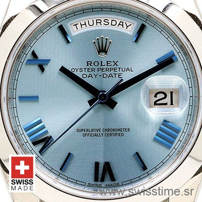 Rolex Day Date 40 Platinum Ice Blue Dial | Swiss Replica Watch