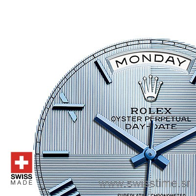 Rolex Day-Date 40 Platinum Ice Blue Quadrant Motif Roman 40mm Swiss Replica