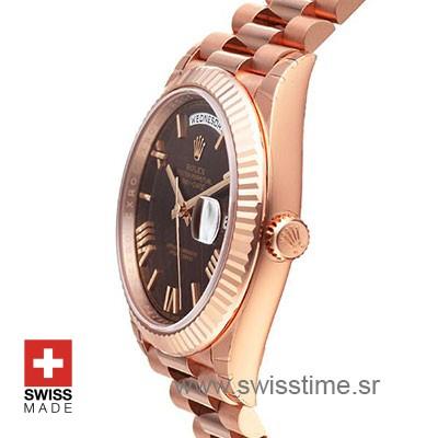 Rolex Day-Date 40 Rose Gold Chocolate Roman 40mm Swiss Replica 40mm