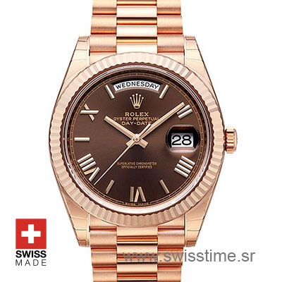 Rolex Day-Date 40 Rose Gold Chocolate Roman 40mm Swiss Replica 40mm