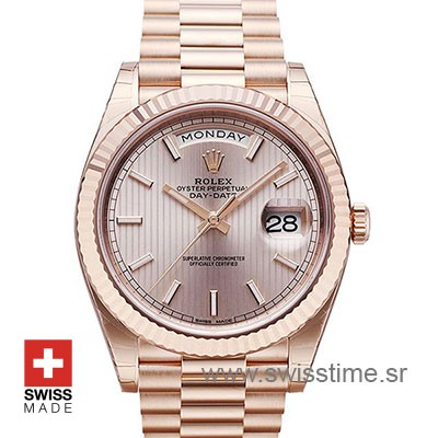 Rolex Day-Date 40 Rose Gold Sundust Stripe Motif Stick 40mm Swiss Replica