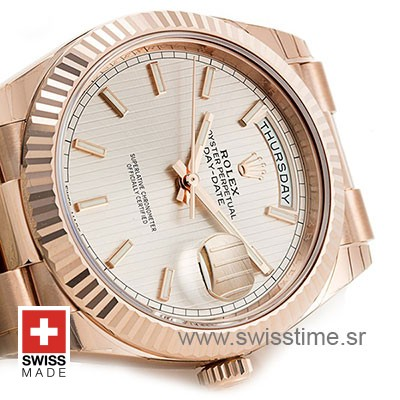 Rolex Day-Date 40 Rose Gold Sundust Stripe Motif Stick 40mm Swiss Replica