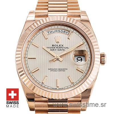Rolex Day-Date 40 Rose Gold Sundust Stripe   Replica Watch