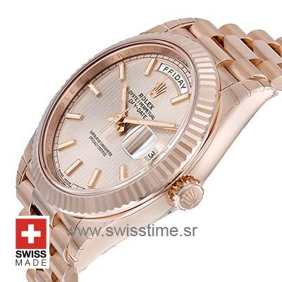 Rolex Day-Date 40 Rose Gold Sundust Stripe | Replica Watch