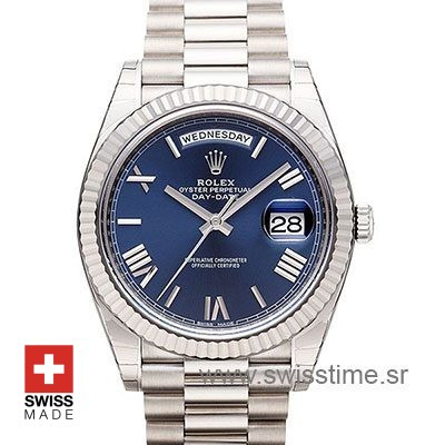 Rolex Day-Date 40 White Gold Blue Roman 40mm
