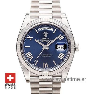 Rolex Day-Date 40 White Gold Blue Roman 40mm