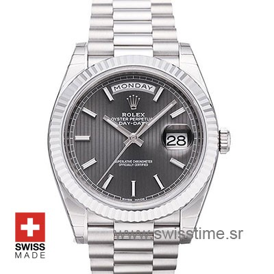 Rolex Day-Date 40 Rhodium Stripes | White Gold Replica Watch