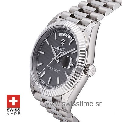 Rolex Day-Date 40 White Gold Dark Rhodium Stripe Motif Stick