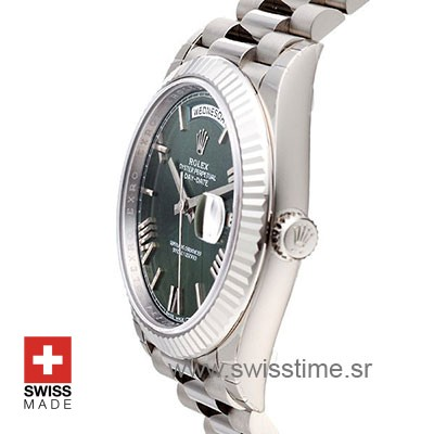 Rolex Day-Date 40 White Gold Olive Green Roman Swiss Replica 40mm