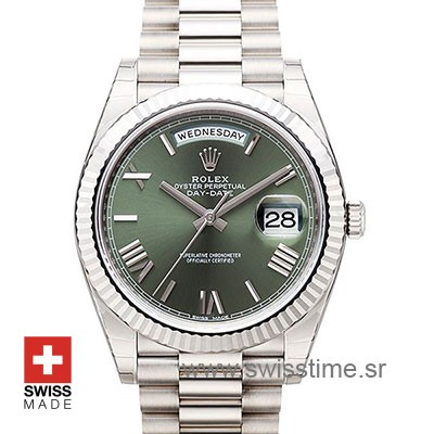 Rolex Day-Date 40 White Gold Olive Green Dial | Swisstime