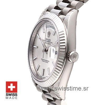 Rolex Day-Date 40 White Gold Silver Stripe Motif Stick 40mm