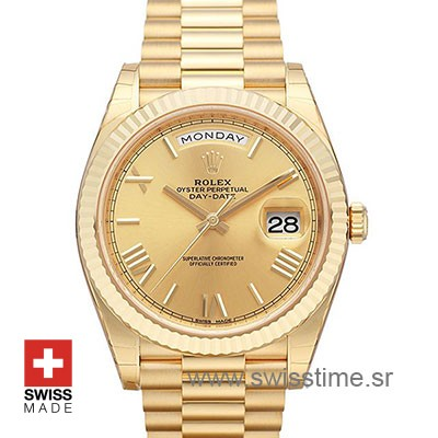 Rolex Day Date 40 Yellow Gold | Gold Dial Swiss Replica Watch