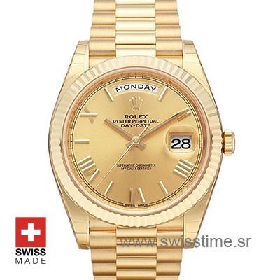 Rolex Day Date 40 Yellow Gold | Gold Dial Swiss Replica Watch