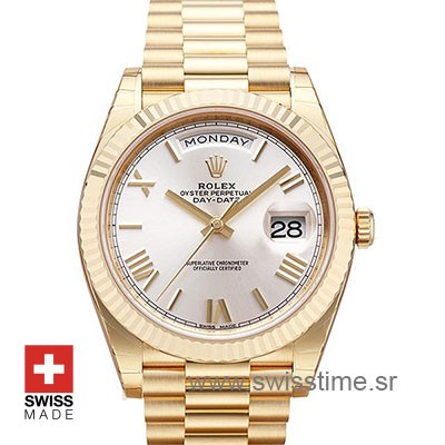 Rolex Day Date 40 Yellow Gold Silver Dial | Swisstime Replica