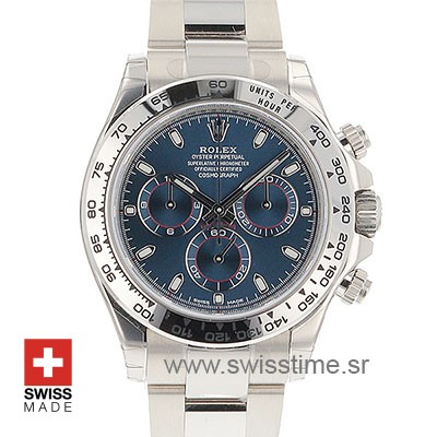 Rolex Daytona White Gold Blue Dial | Swisstime Replica Watch