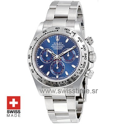 Replica Swiss Rolex Daytona 2016 White Gold Blue 40mm 4130 Clone