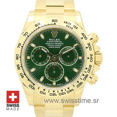 Rolex Daytona Yellow Gold Green Dial | Swiss Replica Watch