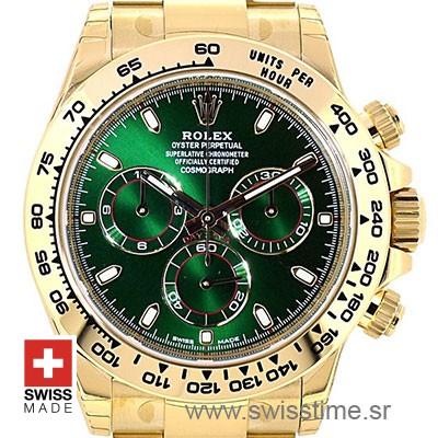 Rolex Daytona Yellow Gold Green Dial | Swiss Replica Watch