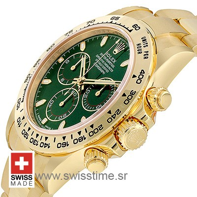 Rolex Daytona 2016 Yellow Gold Green 40mm 7750 Valjoux