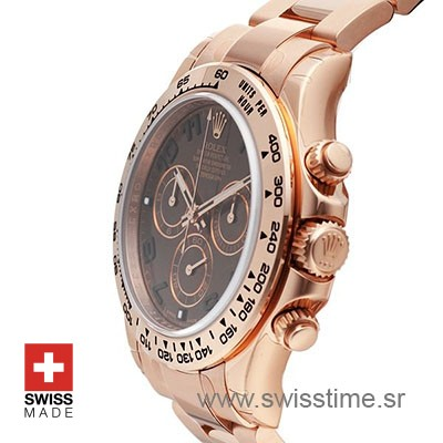 Rolex Daytona Chocolate Dial 18k Everose Full Gold Swiss Replica