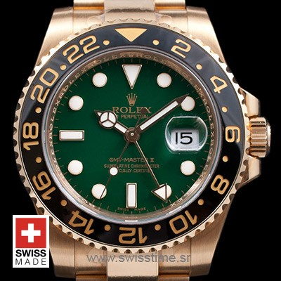 Rolex GMT Master II Gold Green Ceramic 40mm