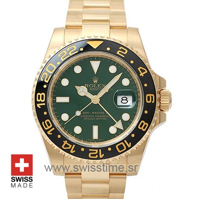 Rolex GMT Master II Yellow Gold Green Dial | Swisstime Watch