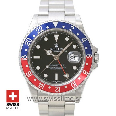 Rolex Gmt Master II Pepsi 40mm | White Gold Replica Watch