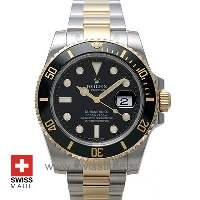 Rolex Submariner 2Tone Black Ceramic Swiss Replica