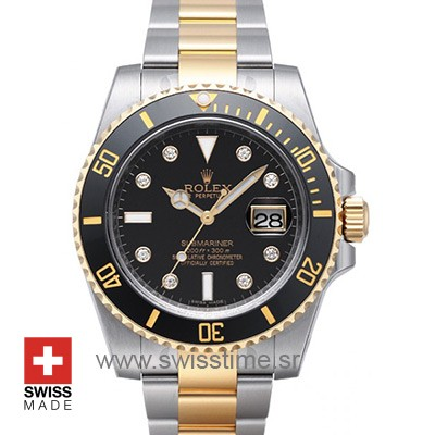 ROLEX SUBMARINER 2-TONE BLACK DIAMONDS CERAMIC 40mm OVERSIZED 116613