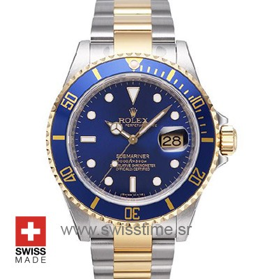 Rolex Submariner 2 Tone Blue Dial | 18k Gold Replica Watch