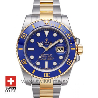 ROLEX SUBMARINER 2-TONE BLUE DIAMONDS CERAMIC 40mm OVERSIZED 116613