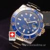 Rolex Submariner Two Tone Blue Dial Diamond Markers Watch