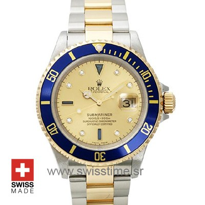 Rolex Submariner 16613 Serti Gold Dial | Swiss Replica Watch