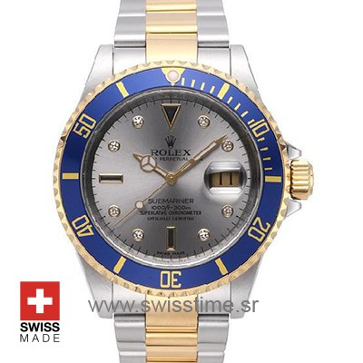 Rolex Submariner 16613 Serti Silver Dial | 2 Tone Replica Watch