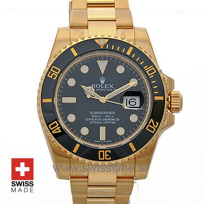 Rolex Submariner Gold Black Dial 40mm | Luxury Replica Watch