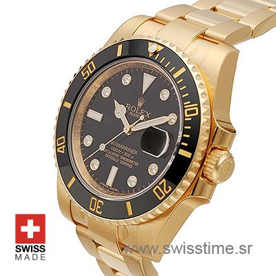 ROLEX SUBMARINER GOLD BLACK DIAMONDS CERAMIC 40mm OVERSIZED 116618