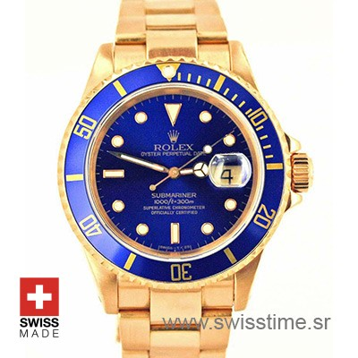Rolex Submariner Gold Blue Dial | Luxury Swiss Replica Watch