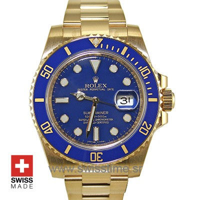 Rolex Submariner 18k Gold Blue Dial Ceramic Bezel | Swisstime