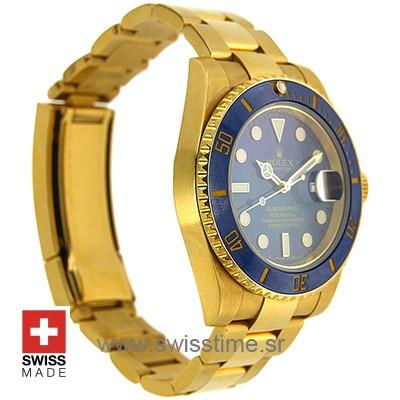 Rolex Submariner 18k Gold Blue Dial Ceramic Bezel | Swisstime
