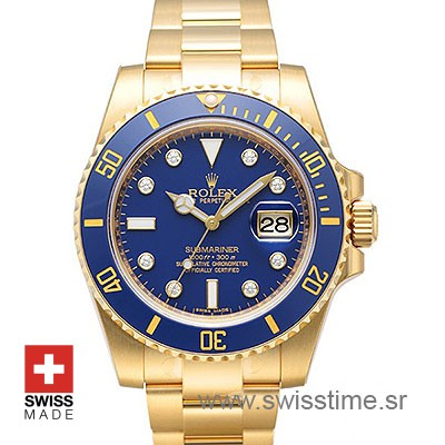 Rolex Submariner Yellow Gold Blue Diamonds Dial | Swisstime
